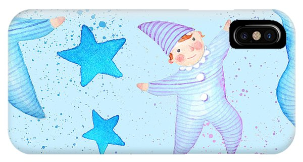 Pajama iPhone X Case - Watercolor Seamless Pattern With Boys by Maria Sem