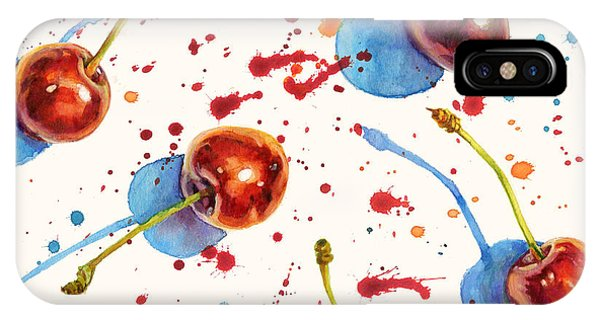 Summer Fruit iPhone Case - Watercolor Seamless Texture With Ripe by Eva mask