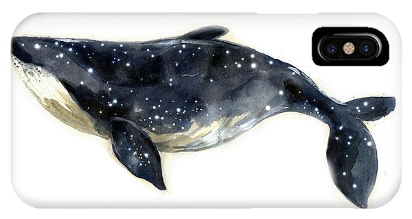 Dolphin iPhone Case - Watercolor Sketch Blue Whale by Tatyana Komtsyan
