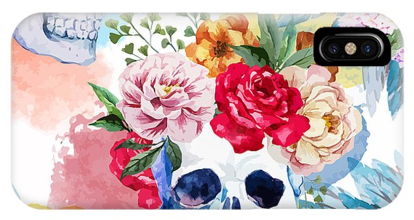 Peony iPhone Case - Watercolor, Skull, Flowers, Indian by Anastasia Lembrik