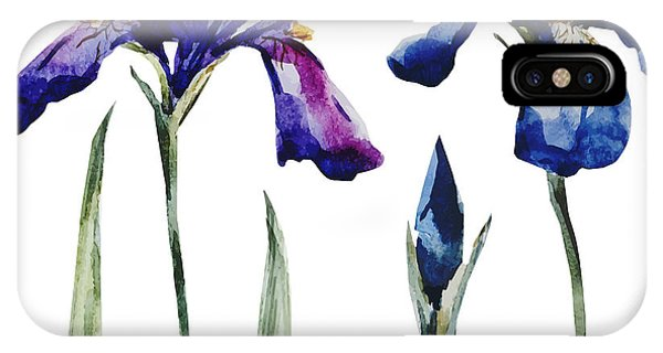 Violet iPhone Case - Watercolor Vector Drawing Flowers Blue by Anastasia Lembrik