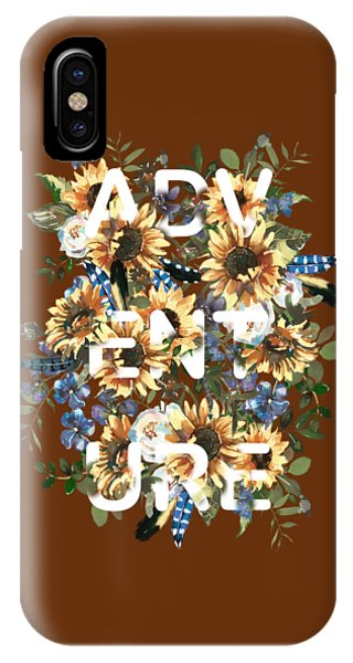 IPhone Case featuring the painting Watercolour Sunflowers Adventure Typography by Georgeta Blanaru