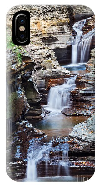 River Flow iPhone Case - Waterfall Closeup In Woods With Rocks by Songquan Deng