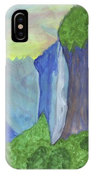 IPhone Case featuring the painting Waterfall In The Mountains by Dobrotsvet Art