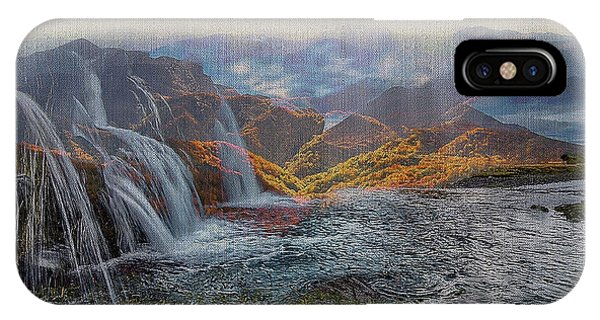 Waterfalls In The Mountains IPhone Case