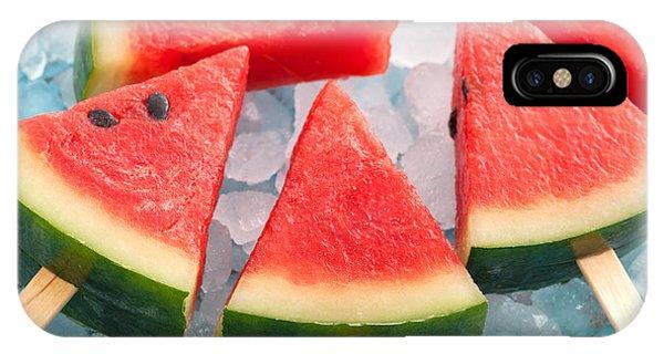 Tasty iPhone Case - Watermelon Popsicle Raw Food Yummy by Rukxstockphoto