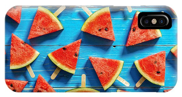 Ripe iPhone Case - Watermelon Slice Popsicles On A Blue by I Am Kulz