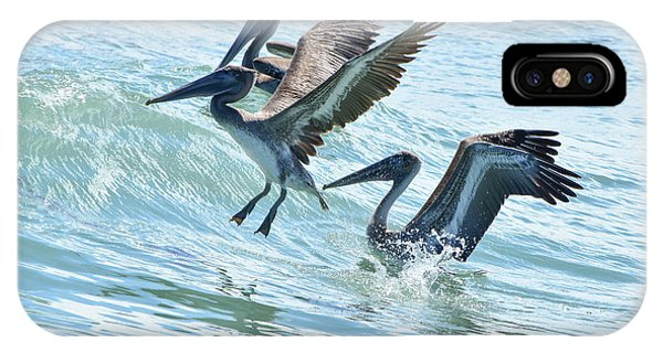 Wave Hopping Pelicans IPhone Case