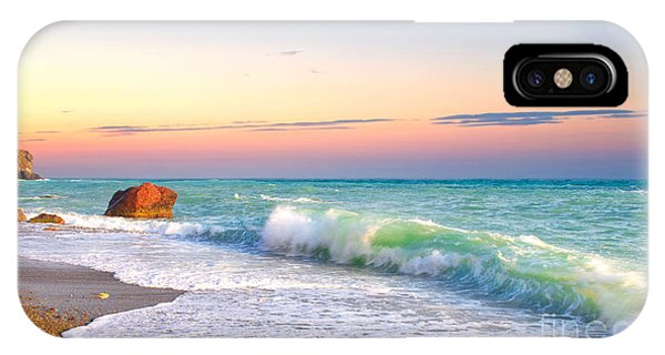 Orange Color iPhone Case - Waves And Sky During Sunset by Biletskiy