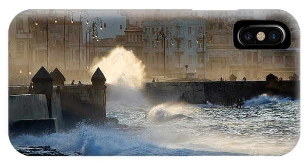 Old Building iPhone Case - Waves Crashing Against The Sea Wall Of by Corlaffra
