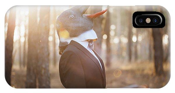 Adult iPhone Case - Weird Businessman Wearing A Bird Rubber by Anastasianess