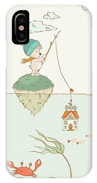 IPhone Case featuring the painting Whale And Bear In The Ocean Whimsical Art For Kids by Matthias Hauser
