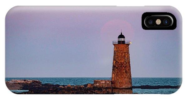 Whaleback Lighthouse Full Moon Rising IPhone Case