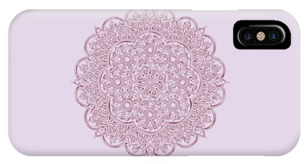 IPhone Case featuring the digital art Whimsical Burgundy Mandala by Georgeta Blanaru