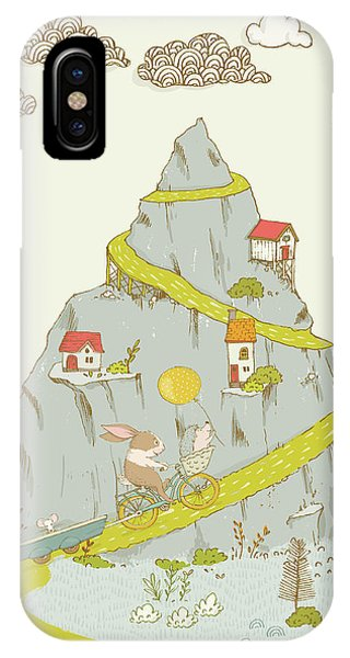 IPhone Case featuring the painting Whimsical Mountain And Animal Art For Kids by Matthias Hauser