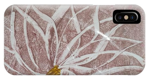 White Abstract Floral On Silverpastel Pink IPhone Case