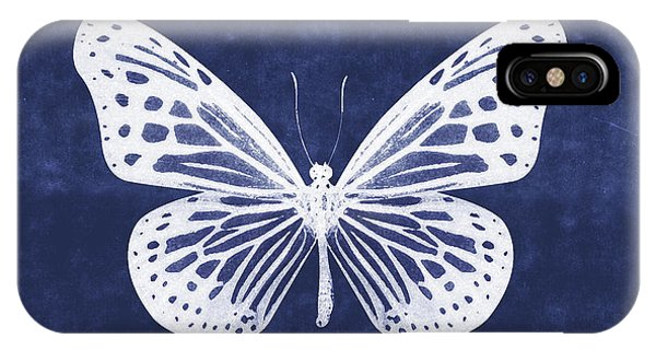 Insect iPhone Case - White And Indigo Butterfly- Art By Linda Woods by Linda Woods
