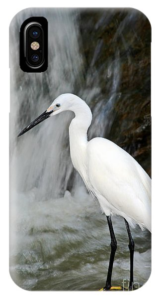 White Bird With Waterfall. Heron In The Phone Case by Ondrej Prosicky