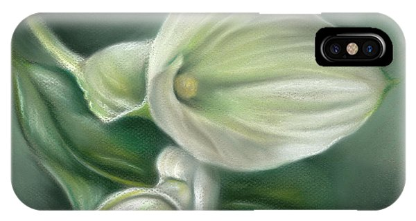 White Callas With Leaf IPhone Case