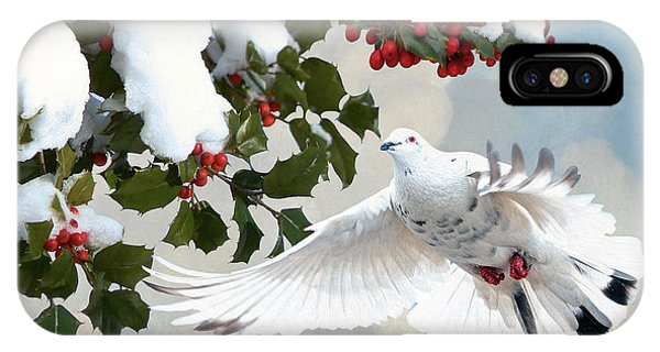 White Dove And Holly IPhone Case