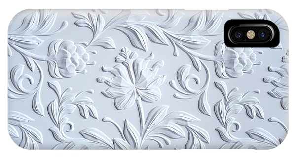 White Embossed Flowers Pattern Phone Case by Wacomka