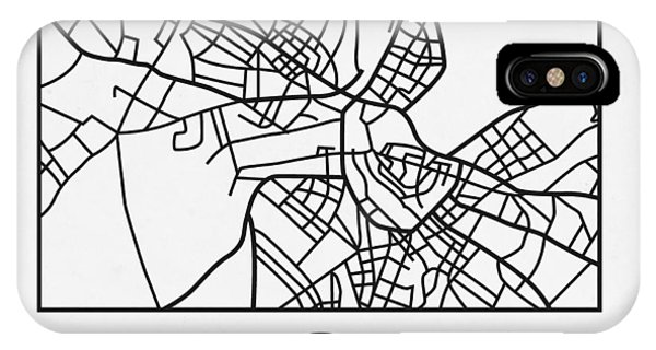 Souvenirs iPhone Case - White Map Of Helsinki by Naxart Studio