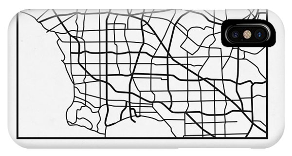 Souvenirs iPhone Case - White Map Of Los Angeles by Naxart Studio