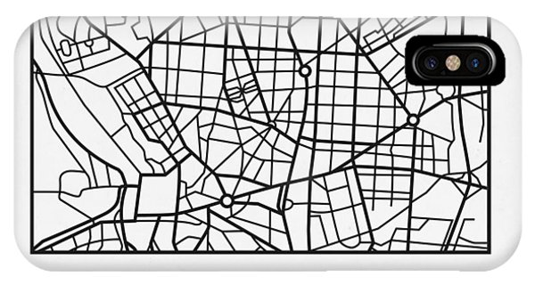 Souvenirs iPhone Case - White Map Of Madrid by Naxart Studio