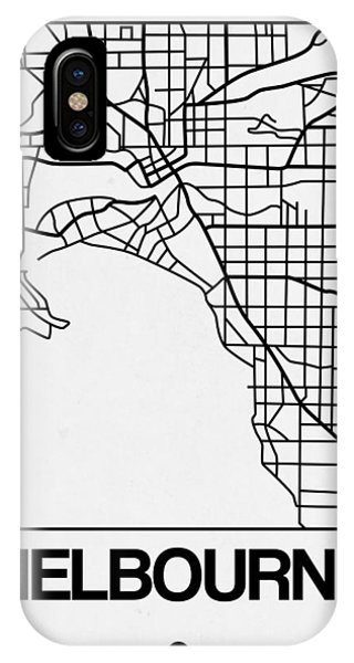 Souvenirs iPhone Case - White Map Of Melbourne by Naxart Studio