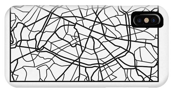 Paris iPhone Case - White Map Of Paris by Naxart Studio