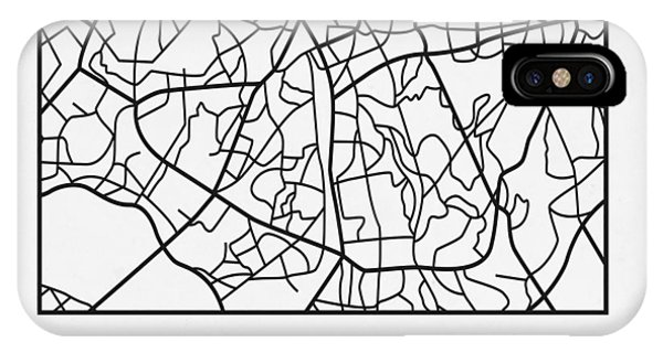 Souvenirs iPhone Case - White Map Of Sao Paulo by Naxart Studio