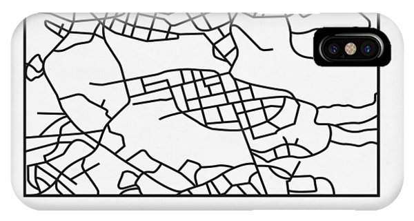 Souvenirs iPhone Case - White Map Of Stockholm by Naxart Studio