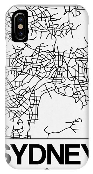 Souvenirs iPhone Case - White Map Of Sydney by Naxart Studio