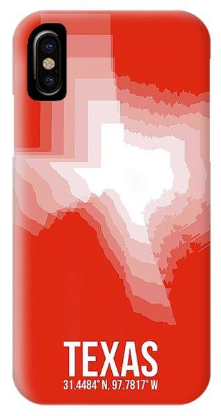 Texas iPhone Case - White Map Of Texas by Naxart Studio