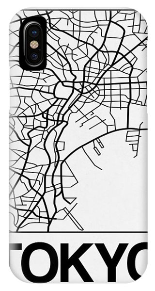 Souvenirs iPhone Case - White Map Of Tokyo by Naxart Studio