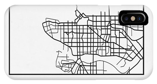 Souvenirs iPhone Case - White Map Of Vancouver by Naxart Studio