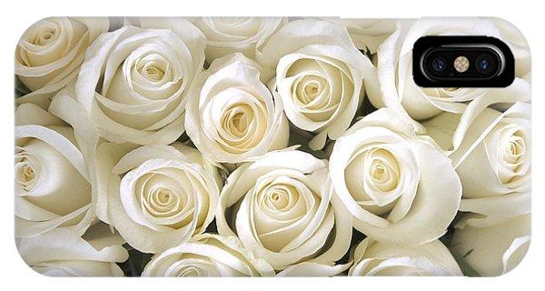 Wedding Gift iPhone Case - White Roses Background by Ev Thomas