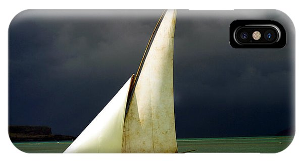 Fisherman iPhone Case - White Sailed Pirogue On The Ocean by Paul Banton