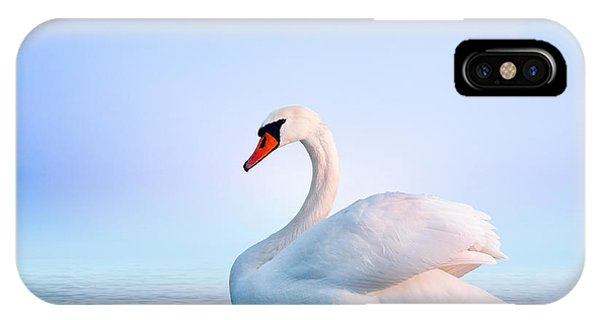 Great Lakes iPhone Case - White Swan In The Foggy Lake At The by Dima Zel