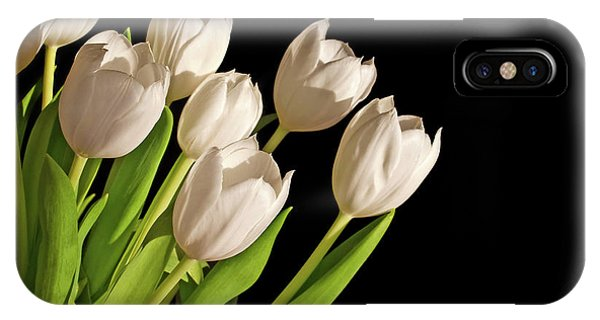 Black Tulip iPhone X Case - White Tulips by Delphimages Photo Creations