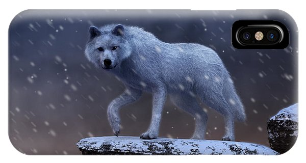 IPhone Case featuring the digital art White Wolf In A Blizzard by Daniel Eskridge