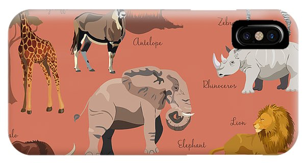 Vector iPhone Case - Wild African Animals Set With Nature by Lemberg Vector Studio