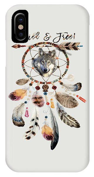 IPhone Case featuring the mixed media Wild And Free Wolf Spirit Dreamcatcher by Georgeta Blanaru