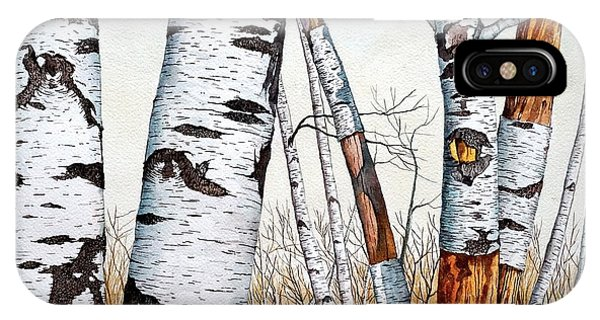 Wild Birch Trees In The Forest In Watercolor IPhone Case