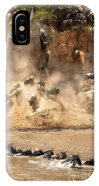 iPhone Case - Wildebeest Jump From The Banks Of The Mara  by Jane Rix