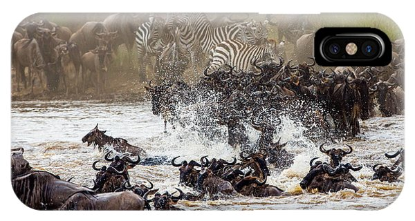 Zoology iPhone Case - Wildebeests Are Crossing Mara River by Gudkov Andrey