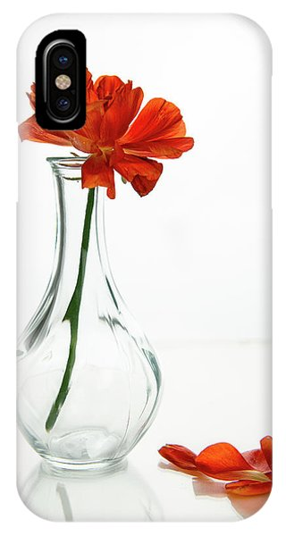 IPhone Case featuring the photograph Wilted Gazania Red Flower On A Glass Vase.  by Michalakis Ppalis