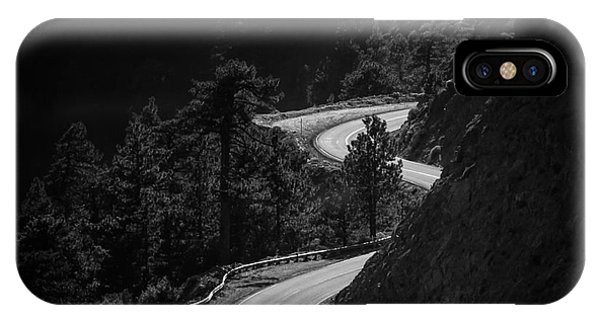White Mountains iPhone Case - Winding Mountain Road In Black And White by Bryce Eilenberg
