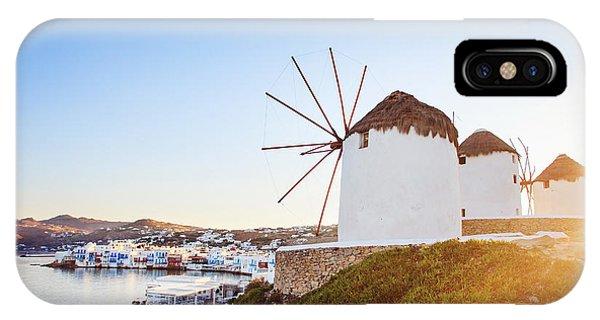 Travel Destination iPhone Case - Windmills Of Mykonos, Famous Landmark by Justin Black