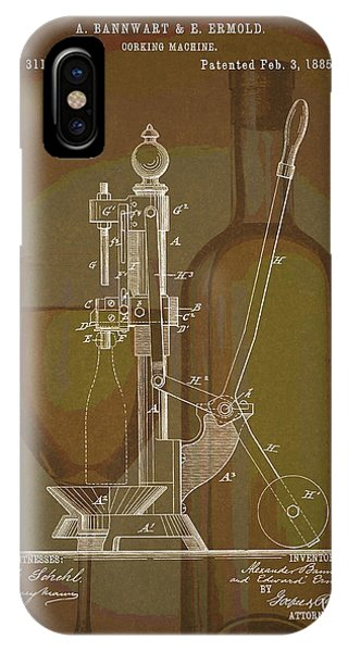 IPhone Case featuring the drawing Wine Bottle Corking Patent by Dan Sproul